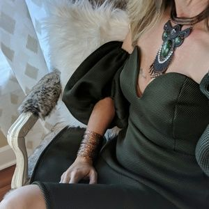 Dresses & Skirts - Beautiful OLIVE Fit&Flare Dress w/Poof Sleeves